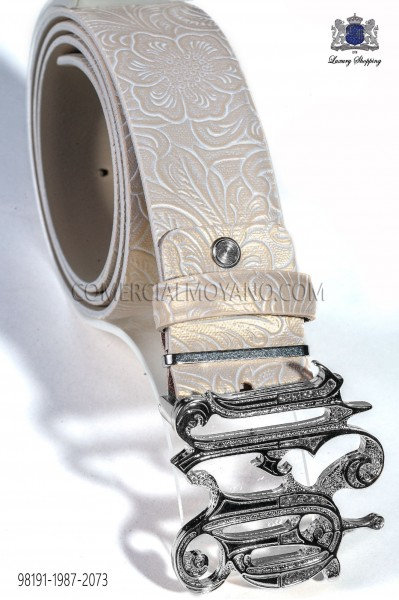 Beige damask leather belt 98191-1987-2073 Ottavio Nuccio Gala.