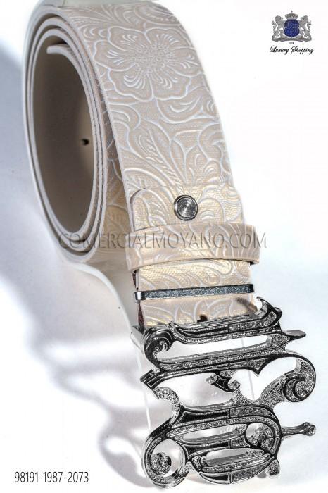 Beige damask leather belt 98191-1987-2073 Ottavio Nuccio Gala.