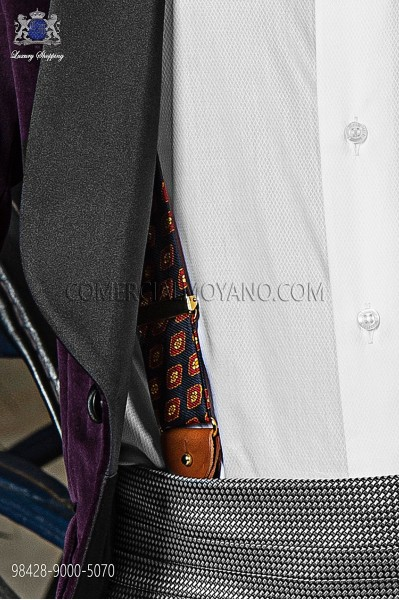 Blue silk suspenders 98428-9000-5070 Ottavio Nuccio Gala.