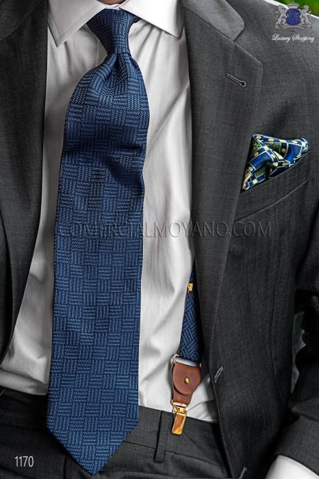 Blue pure silk suspenders 98428-9000-5071 Ottavio Nuccio Gala.