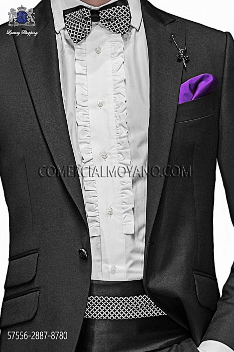 Black silk cummerbund and bow tie 57556-2887-8780 Ottavio Nuccio Gala.