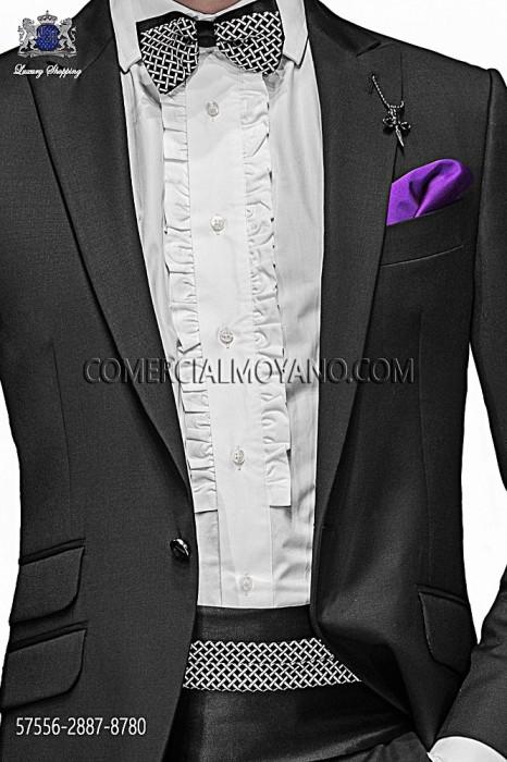 Black silk cummerbund and bow tie 57556-2887-8780 Ottavio Nuccio Gala.