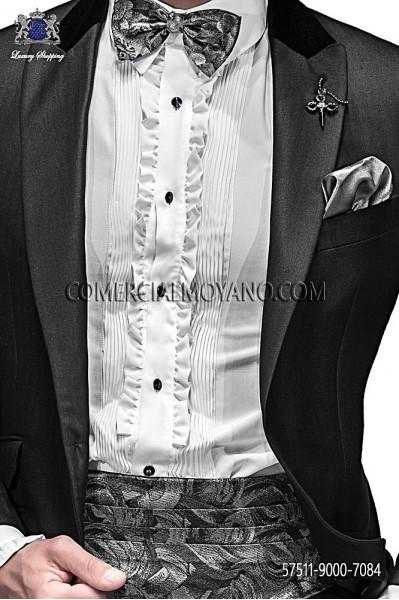 Gray silk cummerbund and bow tie 57511-9000-7084 Ottavio Nucico Gala.