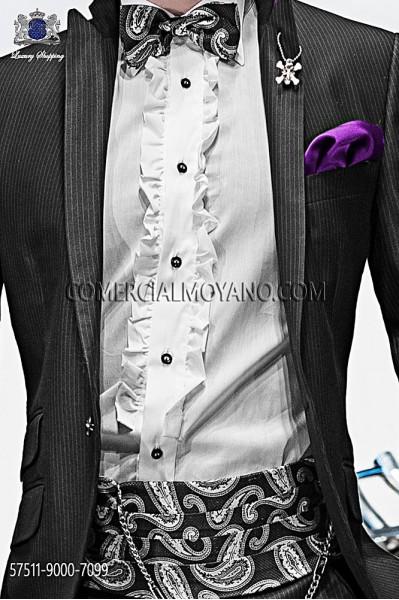 Gray silk cashmere cummerbund and bow tie 57511-9000-7099 Ottavio Nuccio Gala.