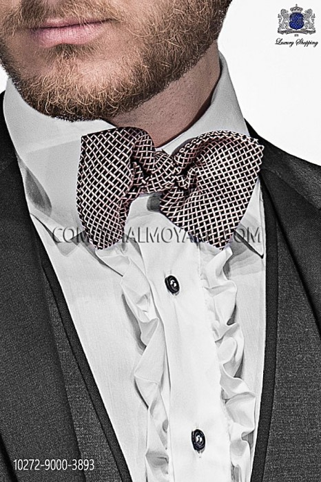 Black and pink silk bow tie 10272-9000-3893 Ottavio Nuccio Gala.