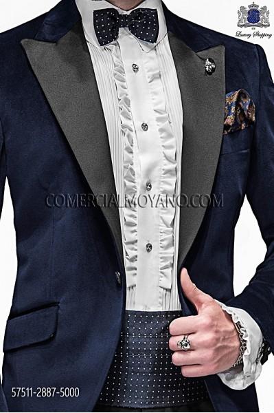 Blue silk cummerbund and bow tie 57511-2887-5000 Ottavio Nuccio Gala.