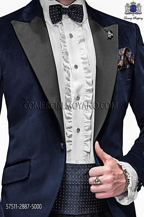 Blue silk cummerbund and bow tie 57511-2887-5000 Ottavio Nuccio Gala.