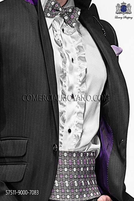 Gray and mauve silk cummerbund and bow tie 57511-9000-7083 Ottavio Nuccio Gala.
