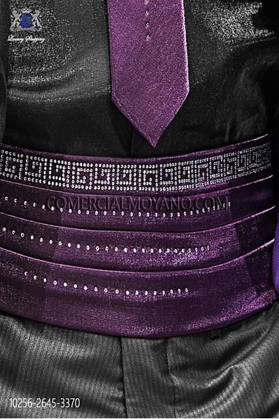 Purple lurex cummerbund 10256-2645-3370 Ottavio Nuccio Gala.