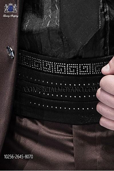 Black lurex cummerbund 10256-2645-8070 Ottavio Nuccio Gala.