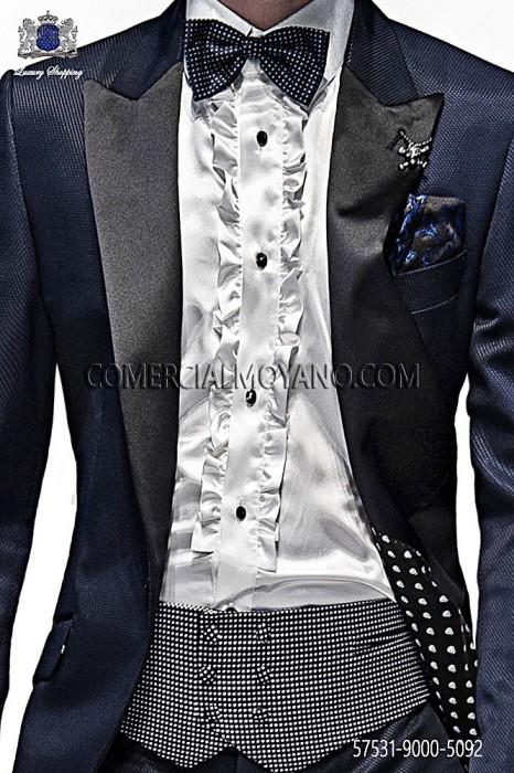Blue silk cummerbund and bow tie 57531-9000-5092 Ottavio Nuccio Gala.