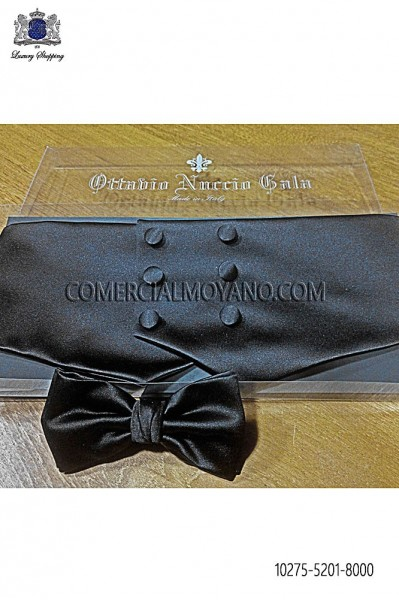 Black satin cummerbund 10275-5201-8000 Ottavio Nuccio Gala.