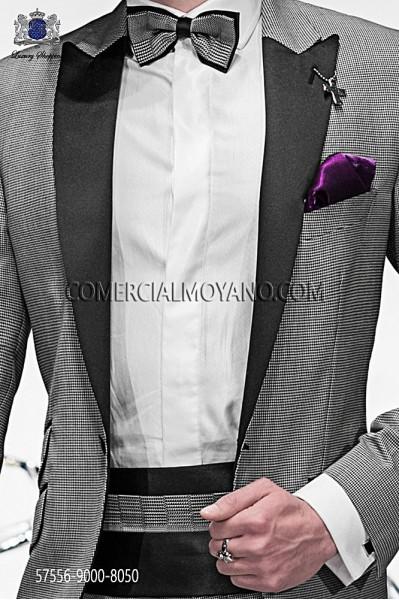 Houndstooth silk cummerbund and bow tie 57556-9000-8050 Ottavio Nuccio Gala.