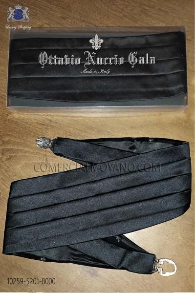 Black satin tuxedo cummerbund 10259-5201-8000 Ottavio Nuccio Gala.