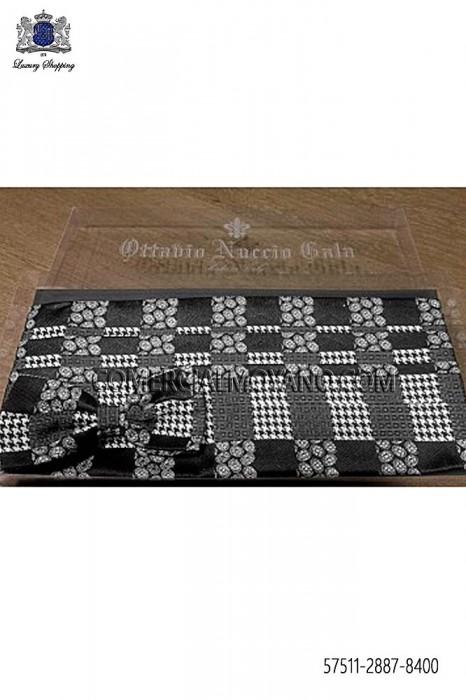 Gray silk square cummerbund and bow tie 57511-2887-8400 Ottavio Nuccio Gala.