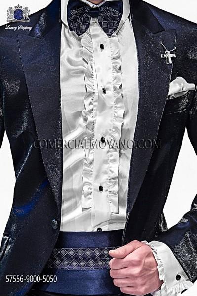 Blue silk cummerbund and bow tie 57556-9000-5050 Ottavio Nuccio Gala.
