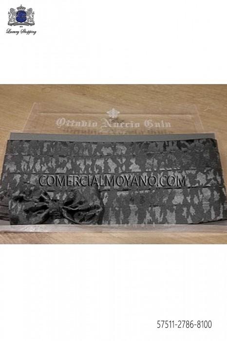 Black fancy cummerbund and bow tie 57511-2786-8100 Ottavio Nuccio Gala.