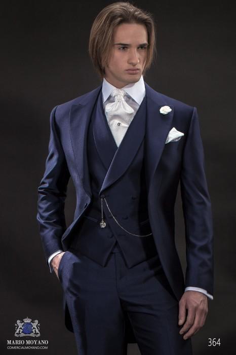 Italian blue short frock wedding suit style 364 Ottavio Nuccio Gala.