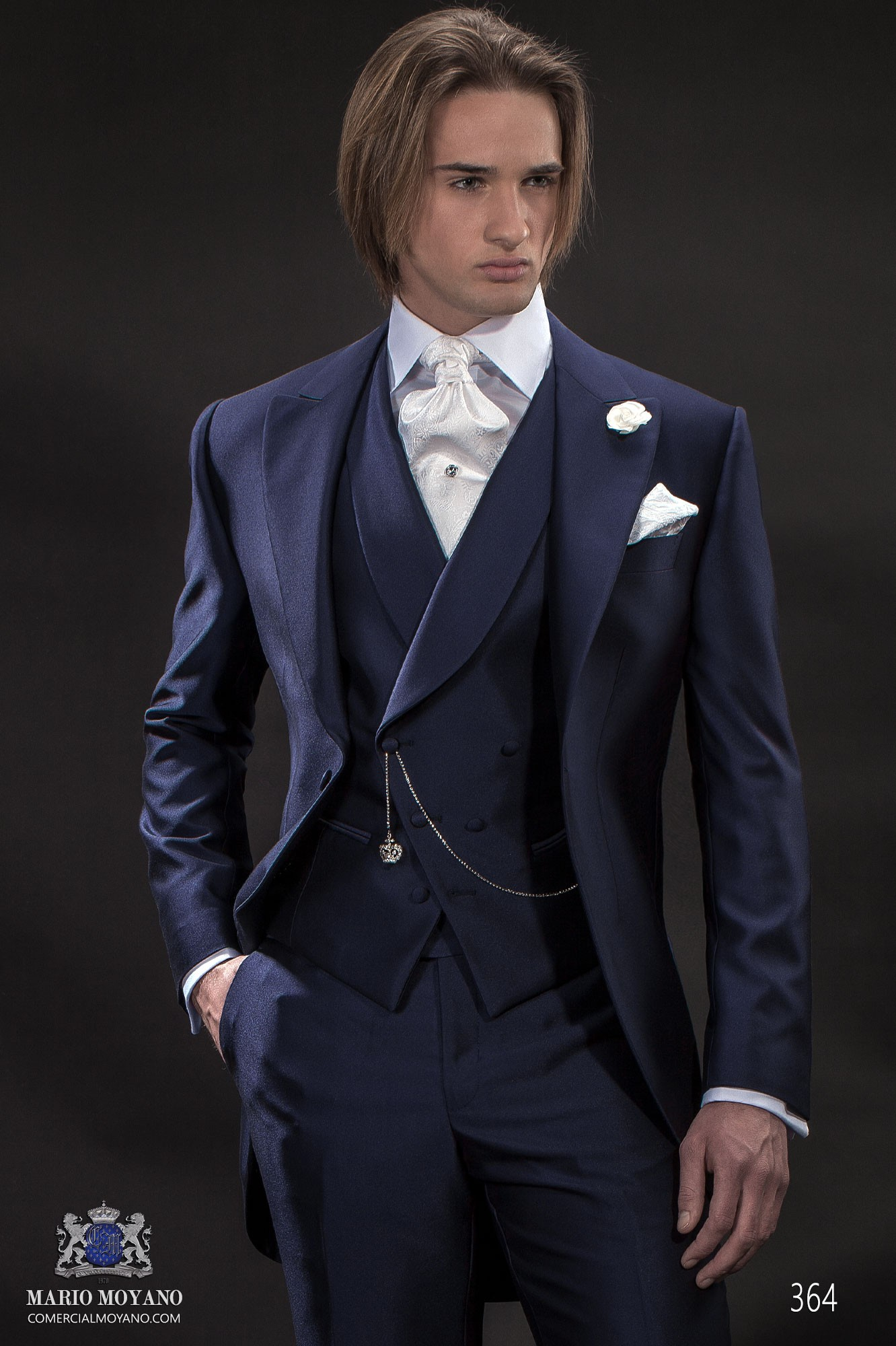 Italian bespoke wedding suit, blue short frock fil a fil, style 364 Ottavio Nuccio Gala, 2015 Gentleman collection.