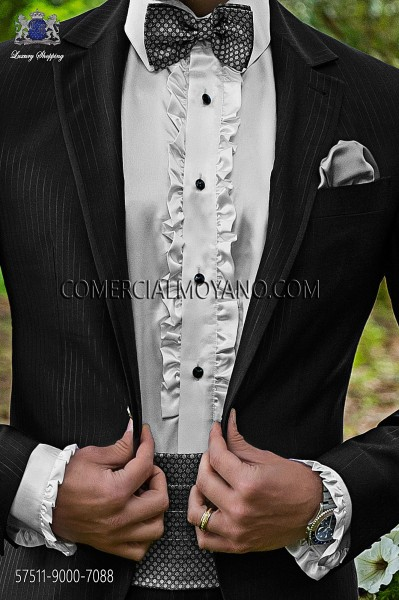 Gray silk cummerbund and bow tie 57511-9000-7088 Ottavio Nuccio Gala.