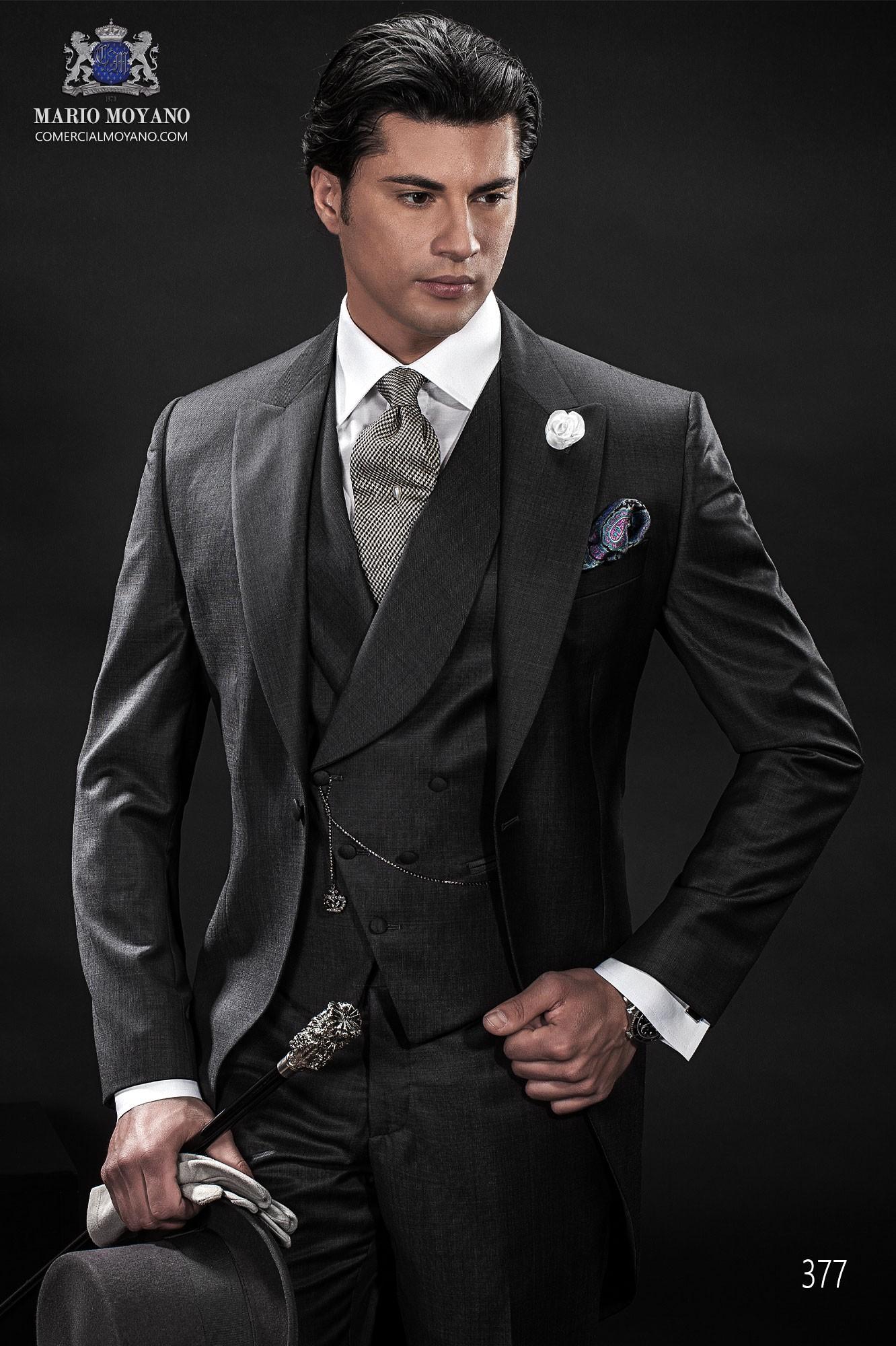 Traje de novio chaqué italiano gris antracita modelo 377 Ottavio Nuccio Gala colección Gentleman 2015.