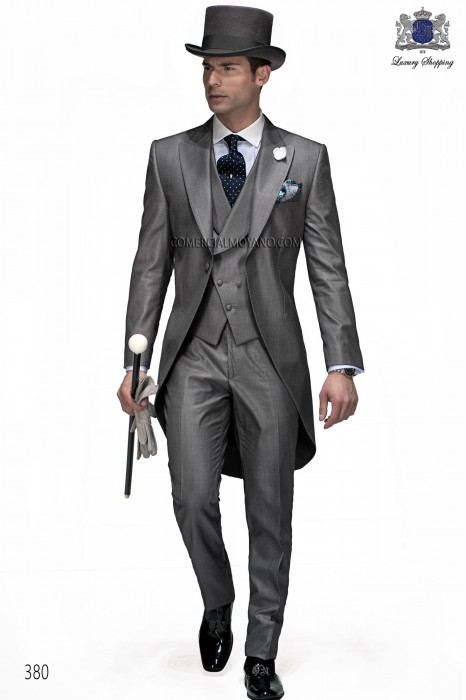 Italian bespoke gray wedding morning suit 380 Ottavio Nuccio Gala.