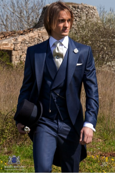 Italian blue wool morning suit