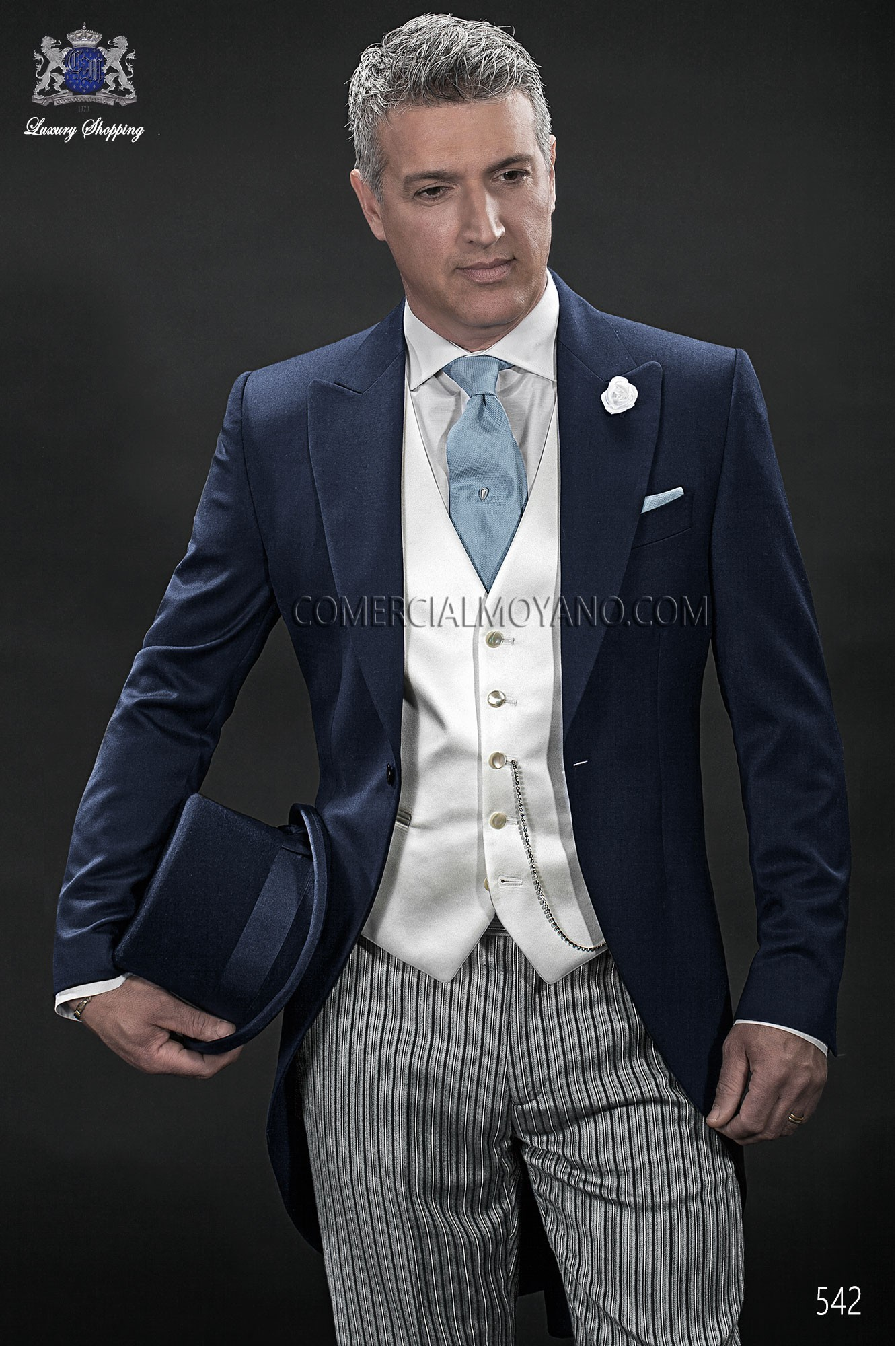 Gentleman blue men wedding suit model 542 Ottavio Nuccio Gala