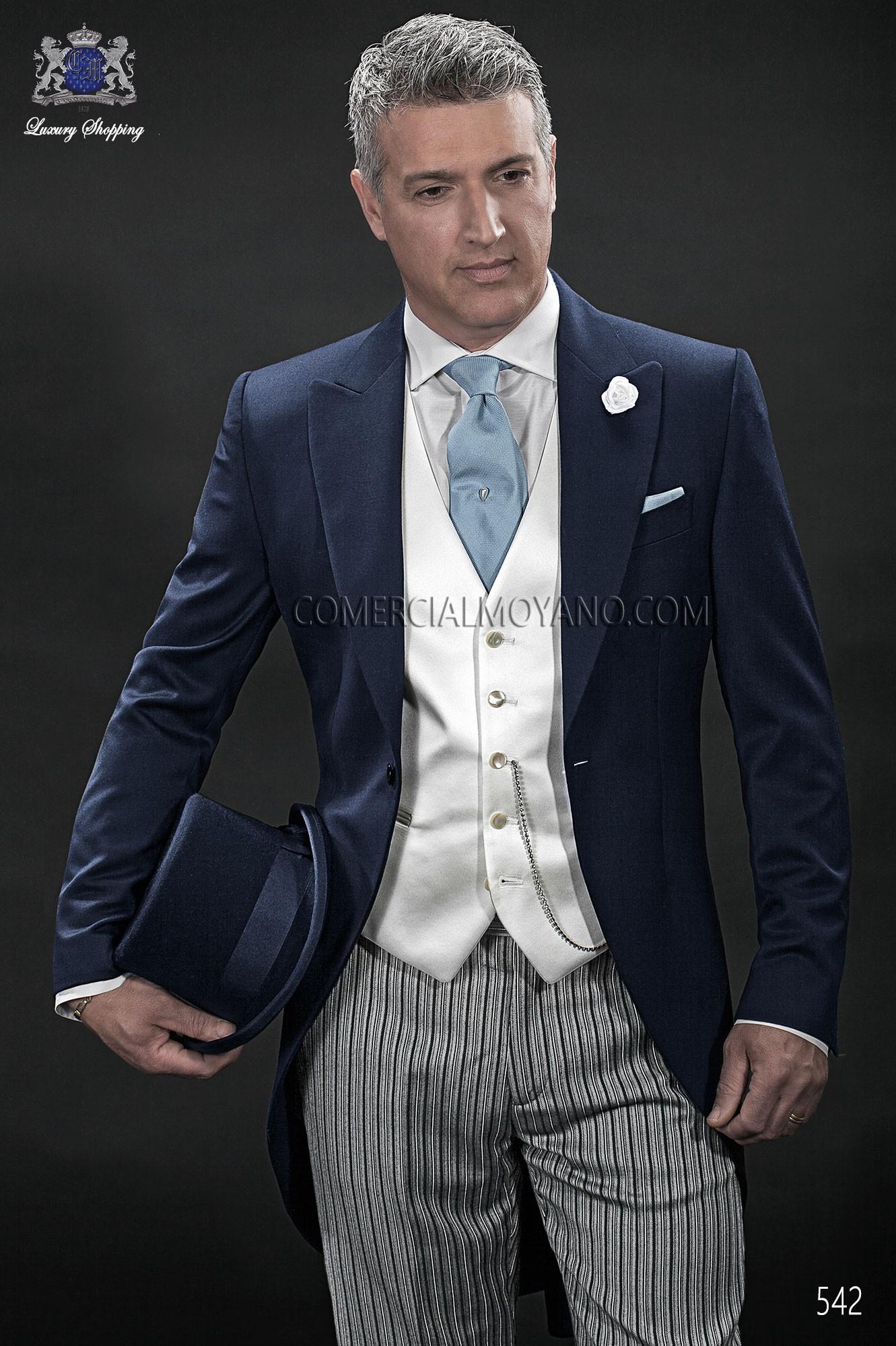Italian bespoke blue wedding morning suit 542 Ottavio Nuccio Gala