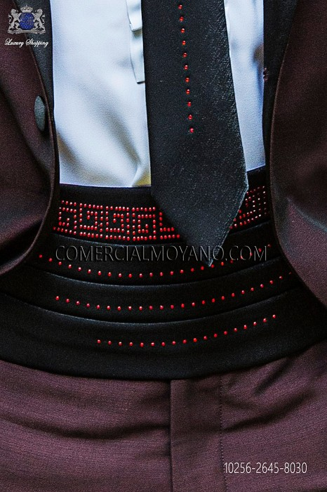 Black lurex cummerbund with red strass 10256-2645-8030 Ottavio Nuccio Gala.