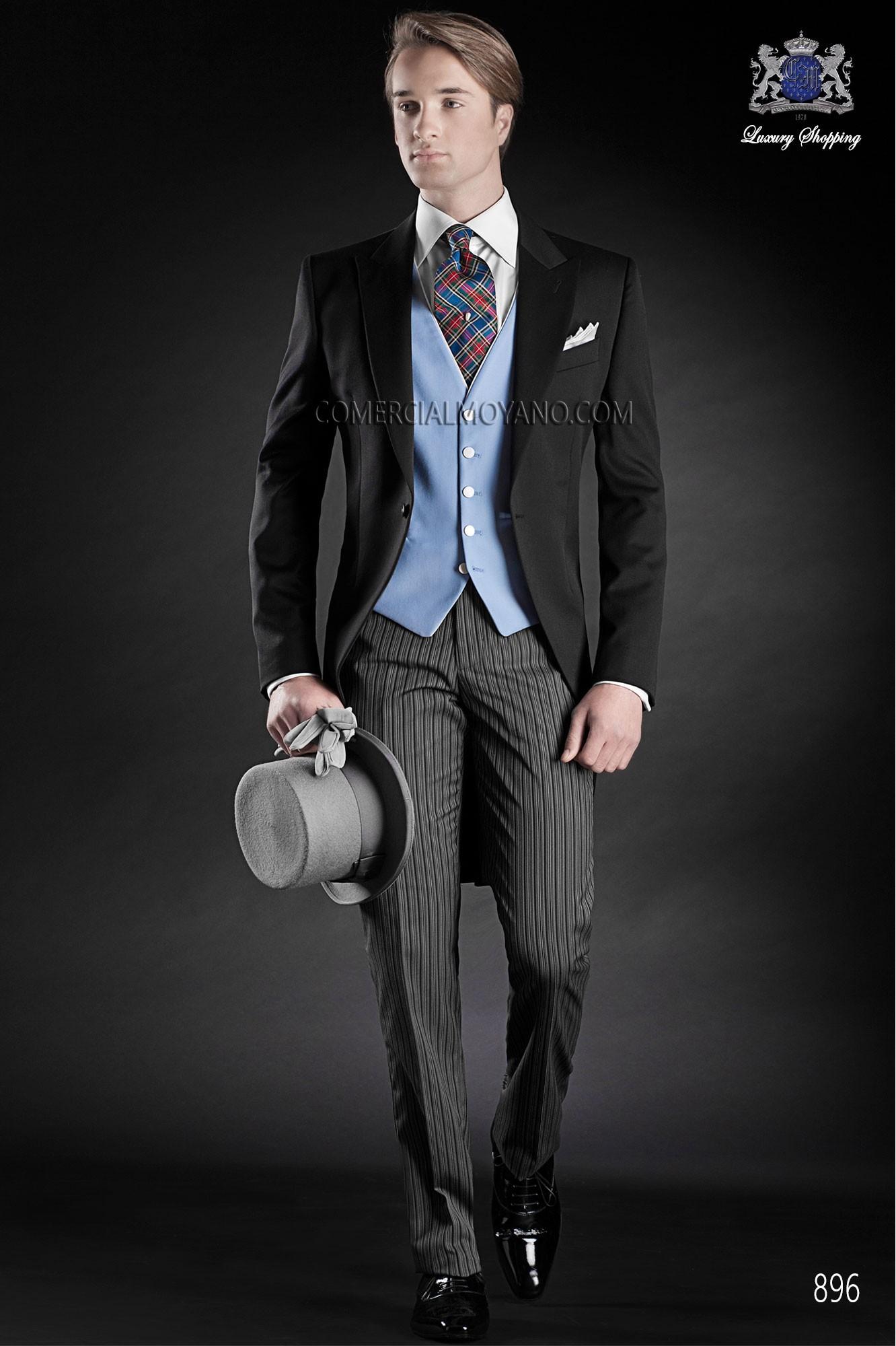 Traje de novio chaqué italiano a medida levita negra sin corte trasero, pantalón rayas diplomáticas, modelo 896 Ottavio Nuccio Gala colección Gentleman 2015.
