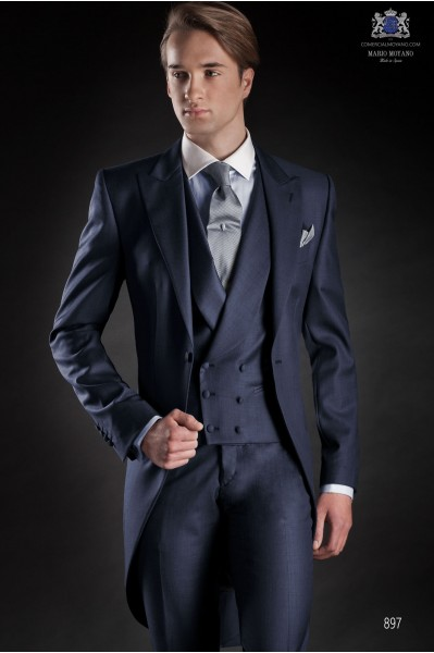 Italian blue fil a fil wedding morning suit