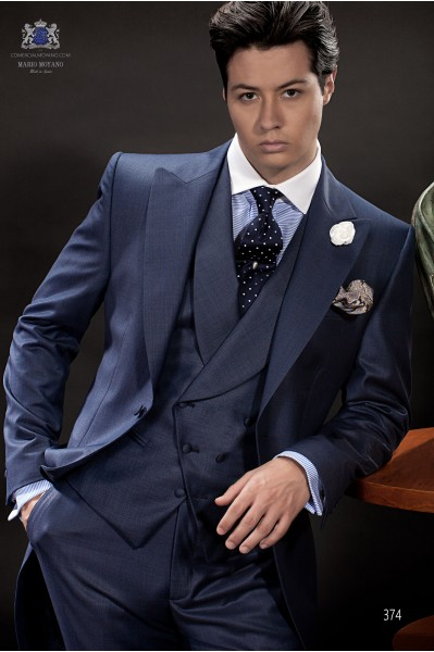Italian blue wedding morning suit in fil a fil fabric