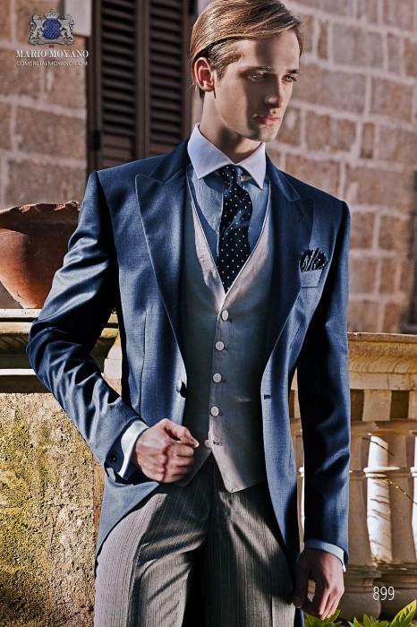 Traje de novio italiano a medida chaqué azul con pantalón diplomático gris, modelo 899 Ottavio Nuccio Gala colección Gentleman 2015.