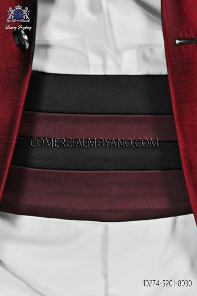 Bicolor black and red cummerbund 10274-5201-8030 Ottavio Nuccio Gala.