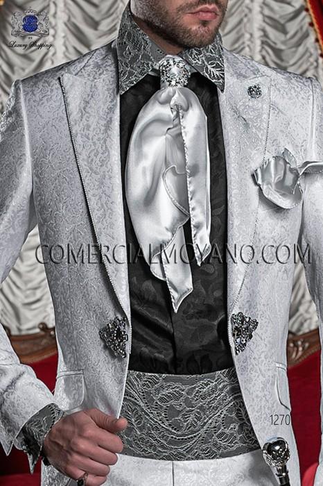 Black cummerbund with silver lace 10288-2785-8072 Ottavio Nuccio Gala.