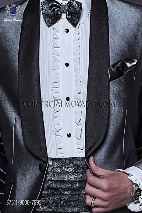 Gray cummerbund and bow tie 57511-9000-7095 Ottavio Nuccio Gala.