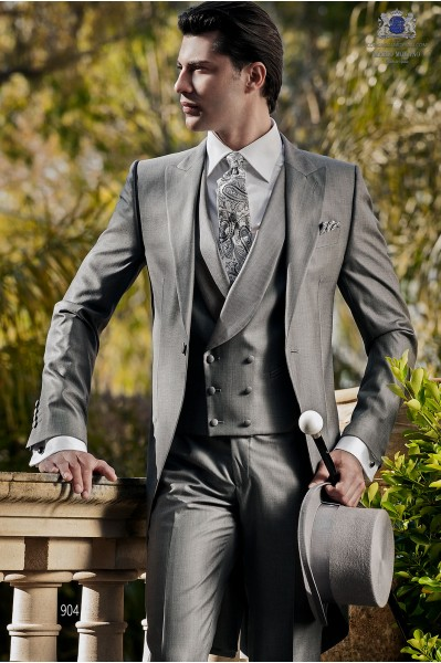 Chaqué italiano lana seda gris 904 Ottavio Nuccio Gala