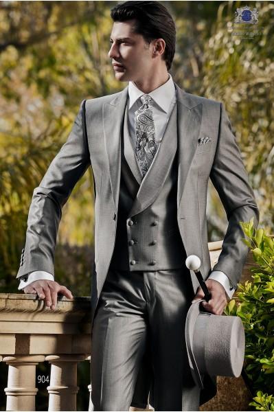 Italian gray wool silk morning suit