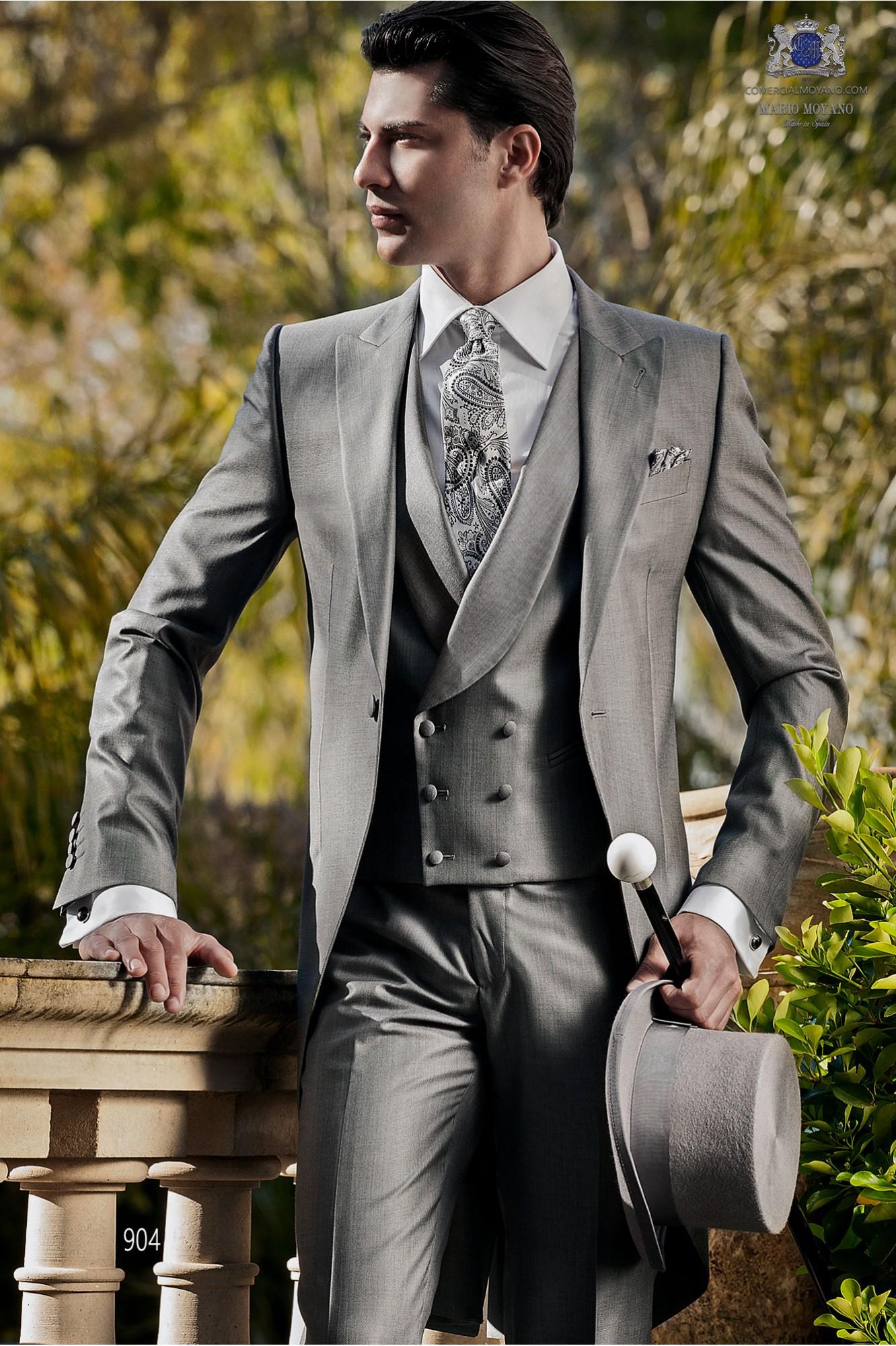 Italienische maßgeschneiderte graue aus Wolle Seide Stoff, Stil 904 Ottavio Nuccio Gala, Gentleman Kollektion.