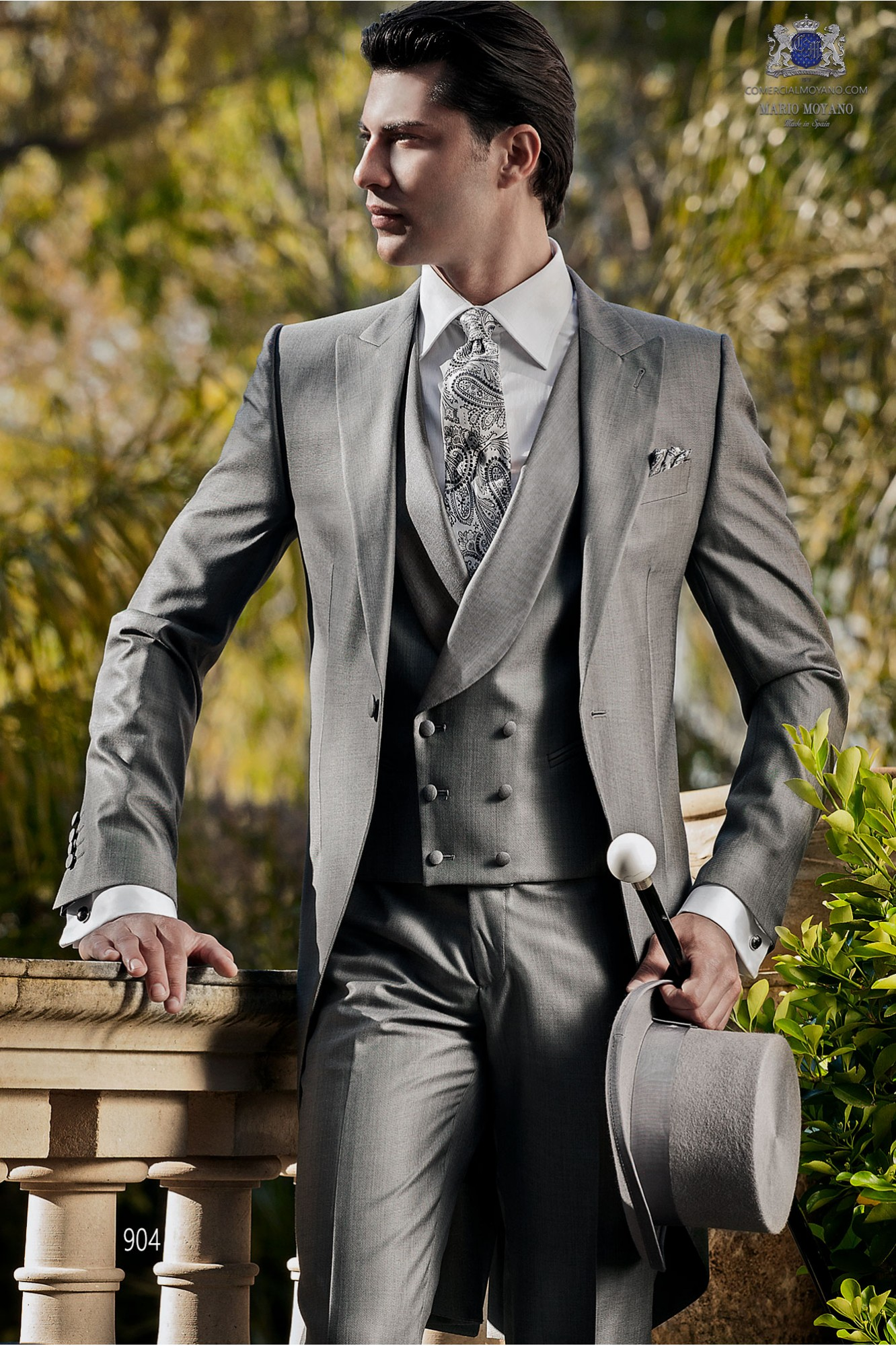 Italienne costume de matin de mariage gris sur mesure en tissu de soie de laine, de style 904 Ottavio Nuccio Gala, collection Gentleman.