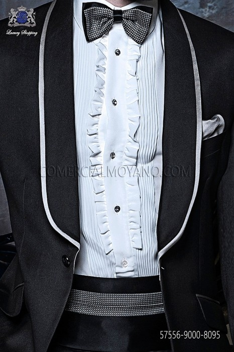 Black and silver cummerbund and bow tie 57556-9000-8095 Ottavio Nuccio Gala.