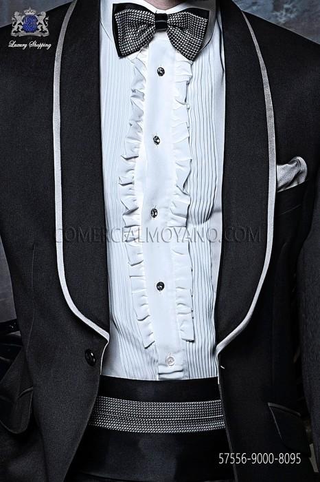 Black and silver cummerbund and bow tie 57556-9000-8095 Ottavio Nuccio Gala.