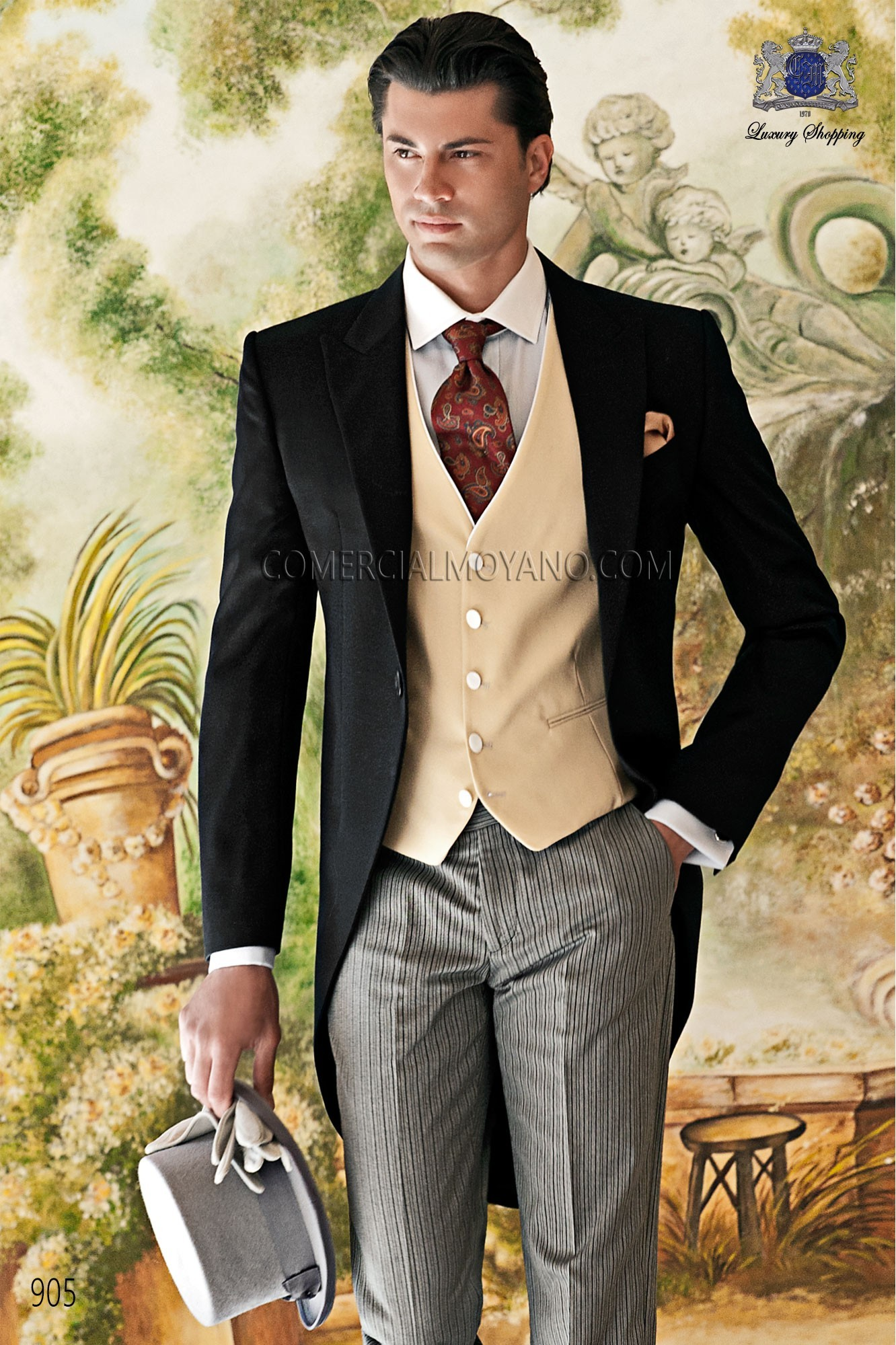 Traje de novio italiano negro modelo: 905 Ottavio Nuccio Gala colección Gentleman