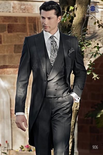 Italian black morning wedding suit
