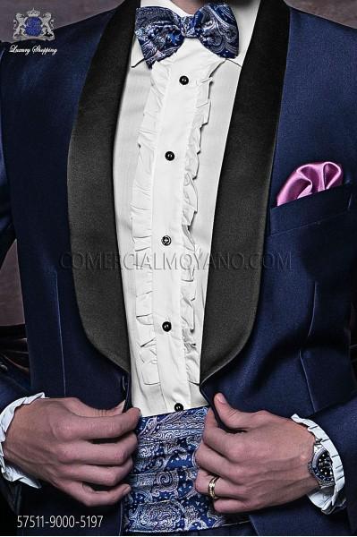 Blue silk cashmere cummerbund and bow tie 57511-9000-5197 Ottavio Nuccio Gala.