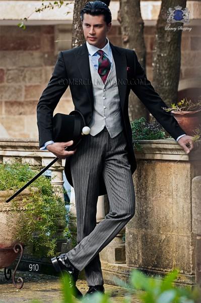 Italian bespoke black wedding morning suit