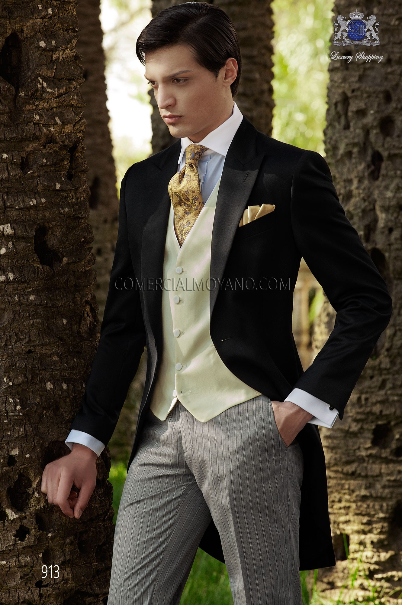 Italian Bespoke Black Wedding Morning Suit 913 Ottavio