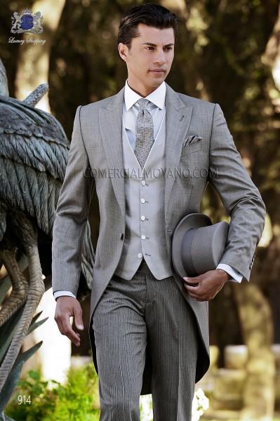 Italian gray fil a fil wedding morning suit