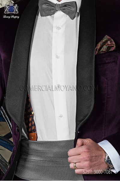 Silver silk cummerbund and bow tie 57511-9000-7081 Ottavio Nuccio Gala.